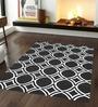 Sofiabrands Grey & White Woolen 96 x 60 Inch Circular Pattern Carpet