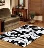 Sofiabrands Black & Beige Wool Floral Carpet