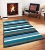 Sofiabrands Blue Viscose Striped & Checkered Carpet