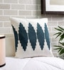 Solaj Blue & White Cotton 18 x 18 Inch Print & Embroidered Cushion Cover