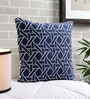 Blue & White Cotton 20 x 20 Inch Woven Cushion Cover by Solaj