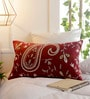 Maroon Cotton 12 x 20 Inch Paisley Cushion Cover by Solaj