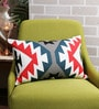 Multicolour Cotton 12 x 18 Inch Print & Embroidered Cushion Cover by Solaj
