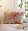 Solaj Multicolour Cotton 12 x 18 Inch Print & Embroidery Cushion Cover