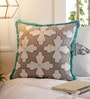 Multicolour Cotton 16 x 16 Inch Embroidery Geometric Pattern Cushion Cover by Solaj