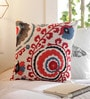 Multicolour Cotton 16 x 16 Inch Indian Ethnic Embroidery Cushion Cover by Solaj