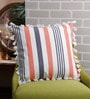 Solaj Multicolour Cotton 18 x 18 Inch Printed with All Side Tassels Cushion Cover