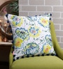 Solaj Multicolour Cotton 18 x 18 Inch Printed with Embroidered & Pom Pom Cushion Cover