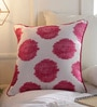 Solaj Pink Cotton 18 x 18 Inch Embroidery Cushion Cover