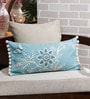 Solaj Sky Blue Cotton 20 x 12 Inch Printed & Embroidered with Two Side Pompom Cushion Cover