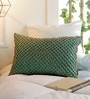 Teal Cotton 12 x 18 Inch Beaded Jaal Cushion Cover by Solaj