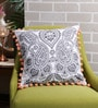 Solaj White & Grey Cotton 16 x 16 Inch Printed with Pom Pom Cushion Cover