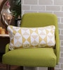 Solaj Yellow & White Cotton 12 x 20 Inch Print & Embroidered Cushion Cover