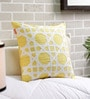 Yellow Cotton 16 x 16 Inch Twill Tape Applique Cushion Cover by Solaj