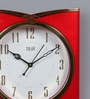 Red Plastic 12 x 2 x 11 Inch Sweep Wall Clock by Solar