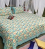 Soma Blues Nature & Florals Cotton King Size Bed Sheets - Set of 3