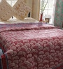 Red & White Nature & Florals Cotton Single Size Quilt 1 Pc by Soma