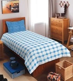 Blue 100% Cotton Allure Single Bed Sheet Set