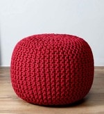 Spin Knitted Cotton Pouffe in Red Colour