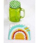 Spiral Kitchen Santorini Quilt Multicolour Canvas Table Coaster - Set of 6