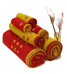 Spaces Red And Gold 100% Cotton Atrium Towel Set - Set Of 6