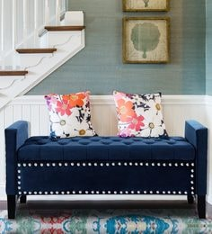 speranza button tufted settee with storage in navy blue colour