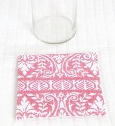 Spiral Kitchen Block Print Pink Canvas Table Coaster - Set Of 6