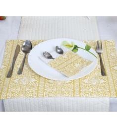 Spiral Kitchen Block Print Yellow Canvas Cutlery Holders - Set Of 6