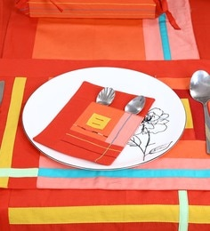 Spiral Kitchen Fussy Cut Red Cotton Table Cutlery Holders - Set Of 6