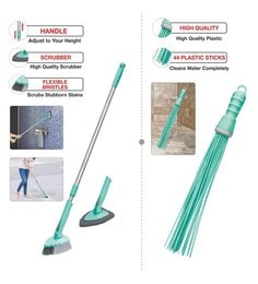 Spotzero Bathroom Kharata With Toilet Brush & Floor Cleaning Scrubber & Brush - Set Of 2