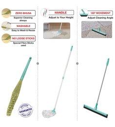 Spotzero Dust Broom Broom With Floor Cleaning Cotton Mop & 180 Degree Floor Water Wiper Small - Set Of 3