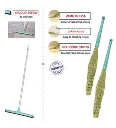 Spotzero Zero Dust Broom with Floor Water Wiper - Set of 3