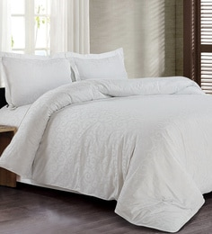 Spread White 100% Cotton Double Size Duvet Cover - 1582108