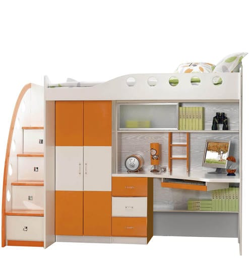 Buy Space Saver Bunk Bed In Orange And White Colour By Child Space