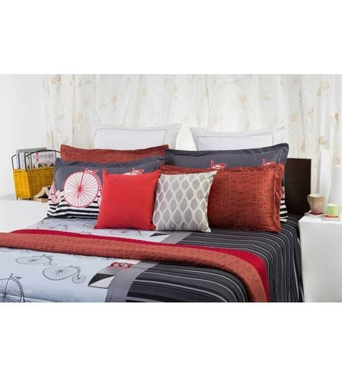Spaces Boho Chic Grey And Red Cotton Double Bed Comforter By Spaces