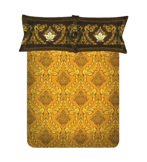 Spaces Mustard Yellow Premium Double Bedsheet Set