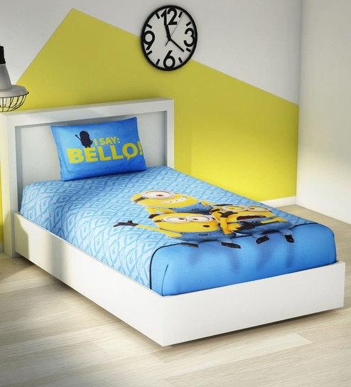 Buy Spaces Sky Blue 100 Cotton Universal Minions Single Bed Sheet
