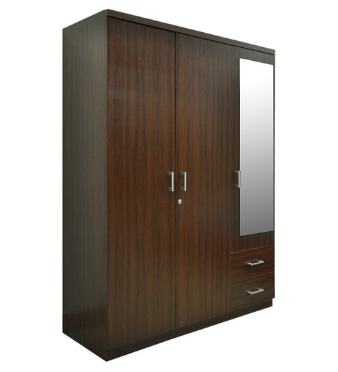 Ewood Kosmo Value Three Door Dresser Wardrobe With Mirror