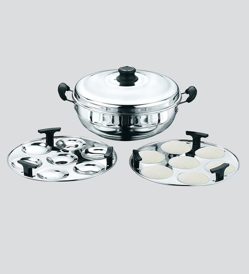 179f82729a9 Buy Stainless Steel Idli Cooker 4 Plates (3 4 Idlis ) with steamer ...