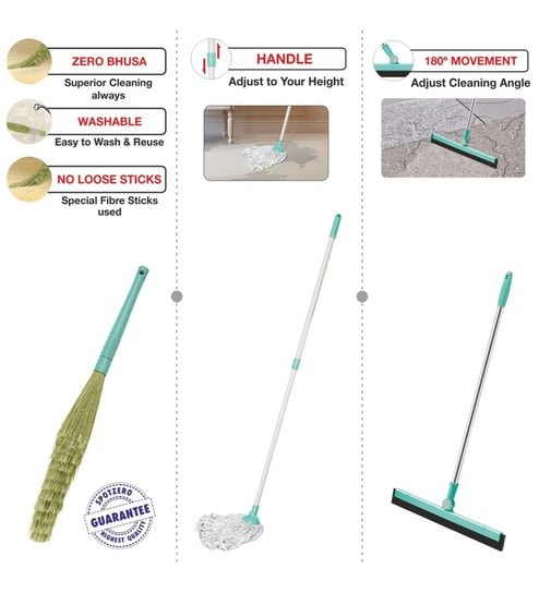 Spotzero Dust Broom Broom with Floor Cleaning Cotton Mop & 180 Degree Floor  Water Wiper Small - Set of 3