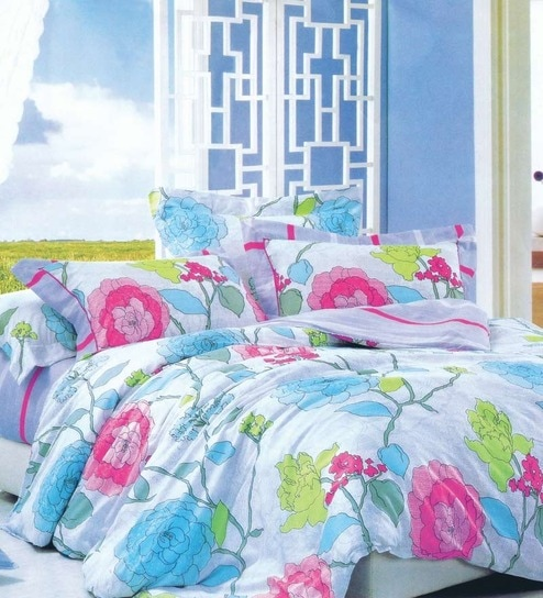 spread four seasons floral designed double bedsheet with two pillow