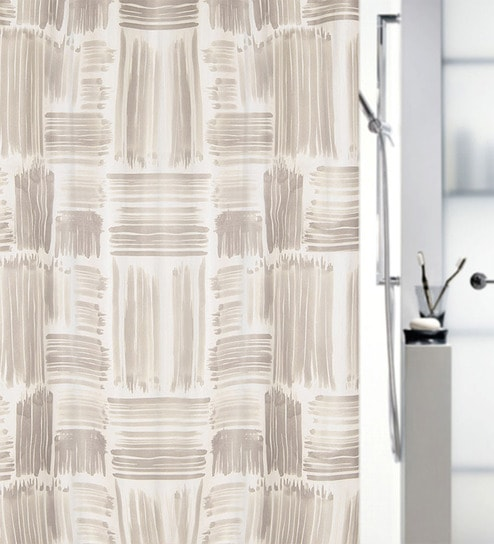 Agnese Yellow Polyester Shower Curtain By Spirella