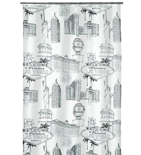 Buy Spirella Vegas Black Polyester Shower Curtain Online