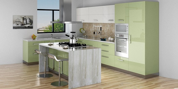 Spacewood Island Kitchen In Hdmr Acrylic Finish In Olive Green Color