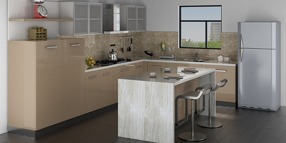 Buy Spacewood Island Kitchen In Ply Glossy Mdf Finish In Cappuccino