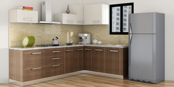 Buy Spacewood L Shape Kitchen In Hdmr Dual Finish In White Plum
