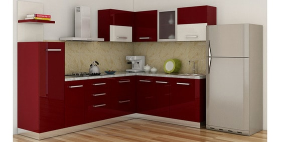 Buy Spacewood L Shape Kitchen In Ply Glossy Mdf Finish In Red Color