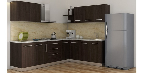 Buy Spacewood L Shape Kitchen In Ply Matte Mdf Finish In Tuscan