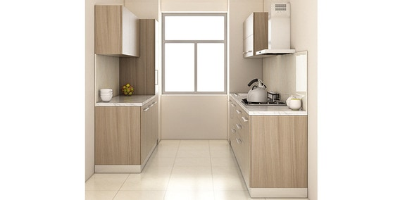 Buy Spacewood Parallel Kitchen In Ply Matte Mdf Finish In Driftwood Color Online Parallel Modular Kitchen Modular Kitchens Furniture Pepperfry Product