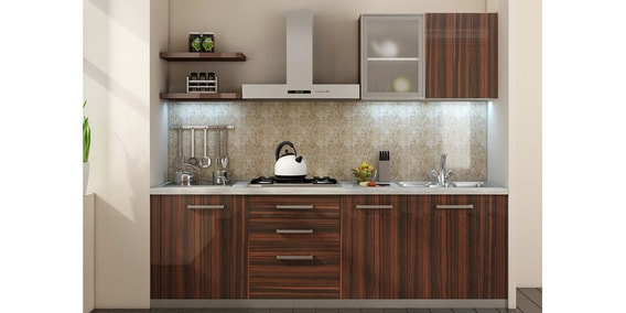 Buy Spacewood Straight Kitchen In Hdmr Acrylic Finish In Brown Color